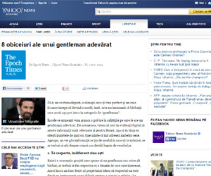 Aparitie media Yahoo! News Romania